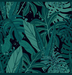 seamless tropical pattern with exotic palm leaves vector image