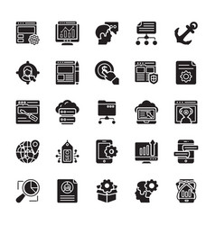 Seo and web optimization glyph icons 1 vector