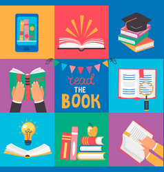 Set of 9 icons with book concepts vector
