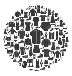 set women s and men s clothing icons vector image