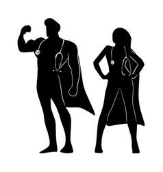 Silhouette male and female superhero vector