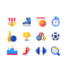 sport - set of flat design style icons vector image
