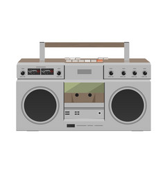 Stereo radio cassette recorder flat design vector
