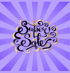 super sale inscription with golden curved elements vector image