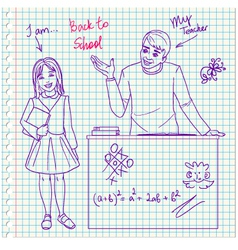 Teacher in classroom with girl on the paper backgr vector image