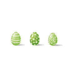 three green easter eggs with ornaments vector image