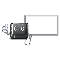 thumbs up with board button d on a computer mascot vector image