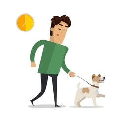 Tired Man in Casual Clothes Walking with his Dog vector