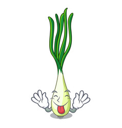 tongue out fresh scallion isolated on the mascot vector image