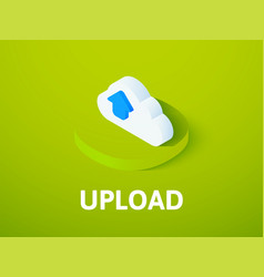 Upload isometric icon isolated on color vector
