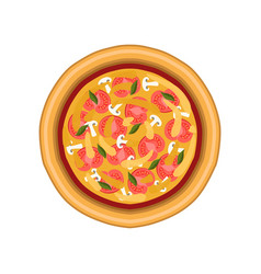 vegetarian pizza with tomato mushroom and basil vector image