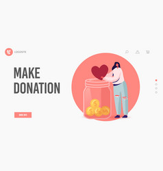 volunteers charity landing page template donation vector image