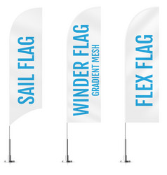 White textile sail winder and flex banner flags vector