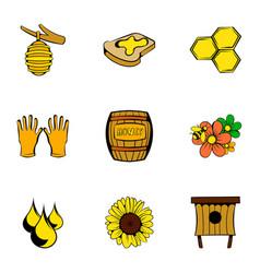 bee garden icons set cartoon style vector image