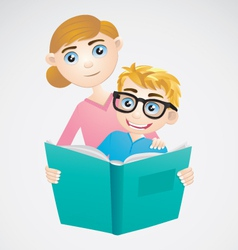 Boy and Mom Reading The Book vector image vector image