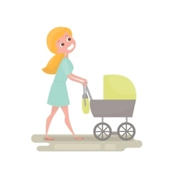Mom pushing her baby in a stroller Young woman vector image