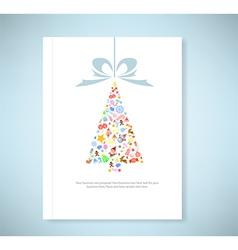 Report christmas tree icon for christmas card vector image