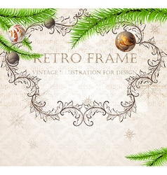 Rustic vintage christmas frame vector