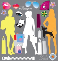 Shopping elements vector