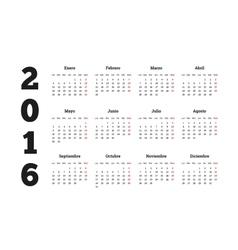 Calendar 2016 year on Spanish language A4 sheet vector image vector image
