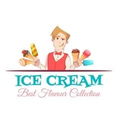 Ice cream vendor with best flavour collection vector image