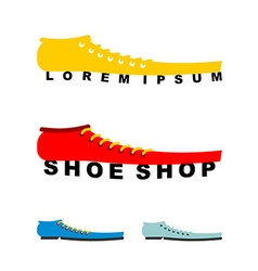 Logo shoes Long boots Emblem for shoe store or vector image vector image