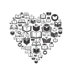 Set of book icons Conceptual background vector image vector image
