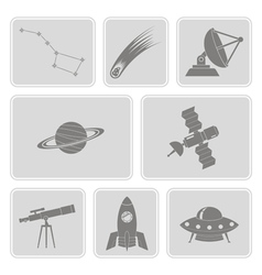 set with astronomy and space icons vector image