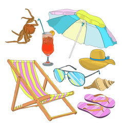 summer beach vacation set vector image vector image
