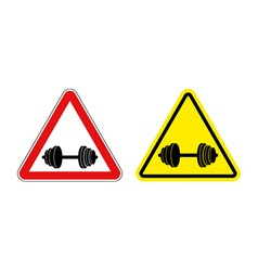 Attention fitness Warning sign sport Red and vector image