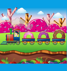 Candy land with train ride with donuts vector