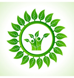 Eco family inside the leaf background vector image vector image
