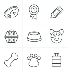Line Icons Style Dog Icons Set Design vector image