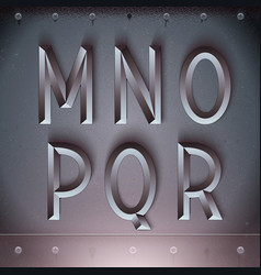 Metal Embossed Font from M to R vector image