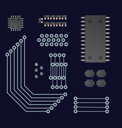 Microchip set of elements vector