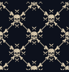 seamless pattern pirate skulls vector image