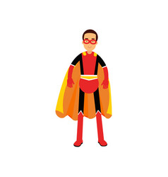 superhero man in orange cape vector image
