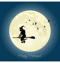 Witch flying on broom stick in Halloween night vector image vector image