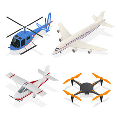 air crafts set isometric view vector image vector image
