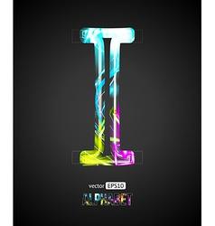 Design Light Effect Alphabet Letter I vector image