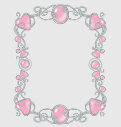 gem frame gentle pink for baby princess template vector image vector image