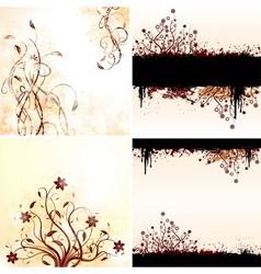 Grunge floral backgrounds vector image
