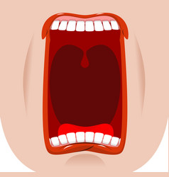 open mouth facial teeth and tongue hunger yawns vector image