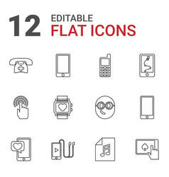 12 smart icons vector image