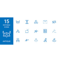 15 antique icons vector image