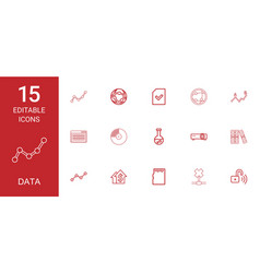 15 data icons vector image