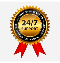 247 SUPPORT gold sign label template vector image