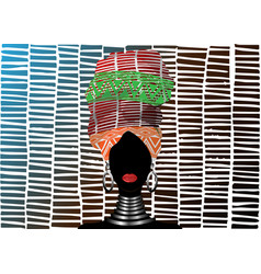 African scarf afro woman in a striped turban vector