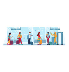 Airport temperature check social distance covid19 vector