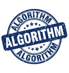 Algorithm blue grunge stamp vector